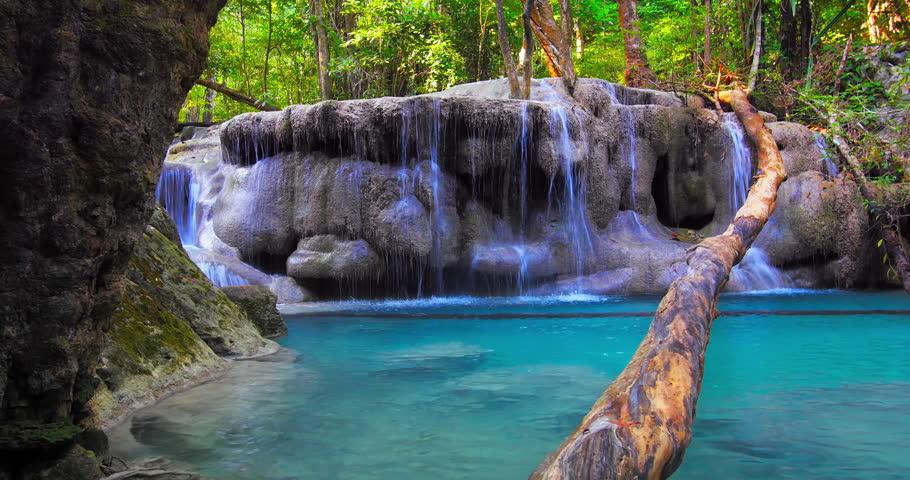 Erawan national park, Kanchanaburi, Thailand. Scenic nature of jungle forest