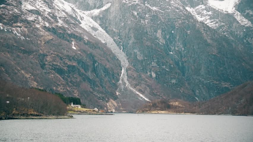 Movement through the Norwegian fjords and mountains with seagulls. May 2013 - HD stock video clip