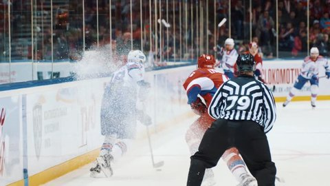 Yaroslavl, Russia, February 29 2016: KHL Playoff Lokomotiv - SKA highlights part III
