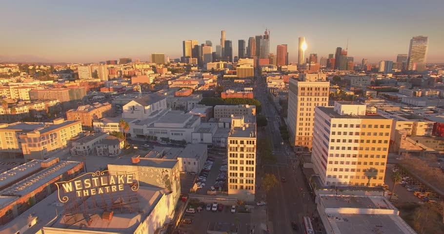LOS ANGELES - Circa 2015: Aerial view of MacArthur Park in the Westlake neighborhood of Los Angeles. 4K UHD.
