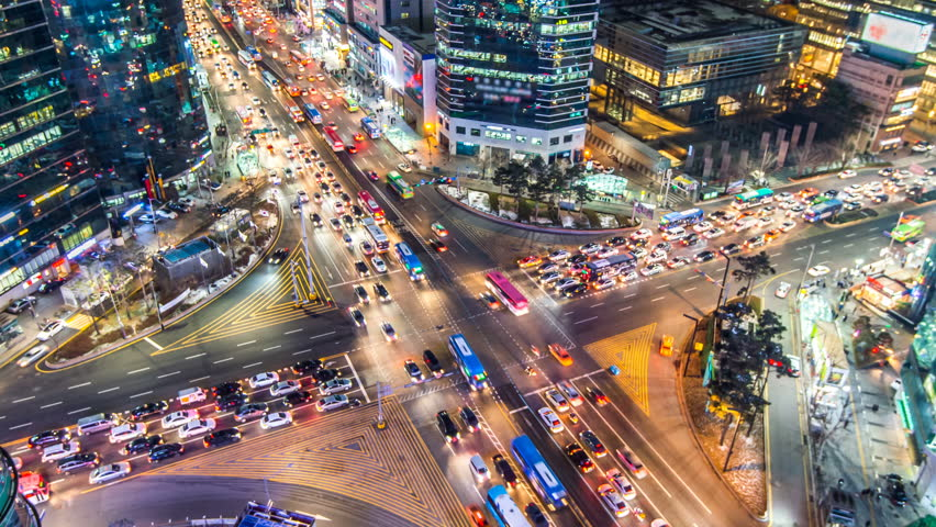 Time lapse traffic at night in Seoul, South Korea.4K | Shutterstock HD Video #14936332