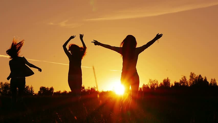 Cinemagraph. Friends, girls enjoy nature running in fields on sunset, slow motion | Shutterstock HD Video #15001522