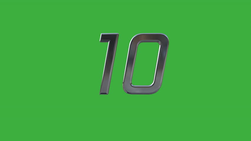 W/Alpha: Floating 3D chromium digits countdown from 10 to 1 against green screen background. (av23143c)