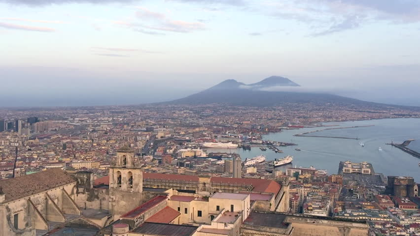 Naples bay Italy, with Vesuvius in the background