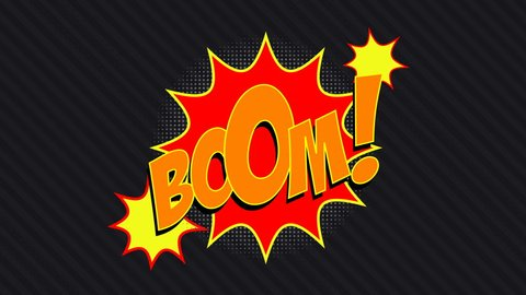 3 words BOOM!, BANG!, ZAP! with matte channel in comics style. Wipe.