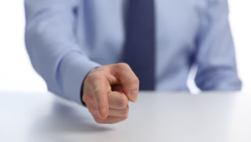 Businessman's hand indicating for you, white background | Shutterstock HD Video #15023272