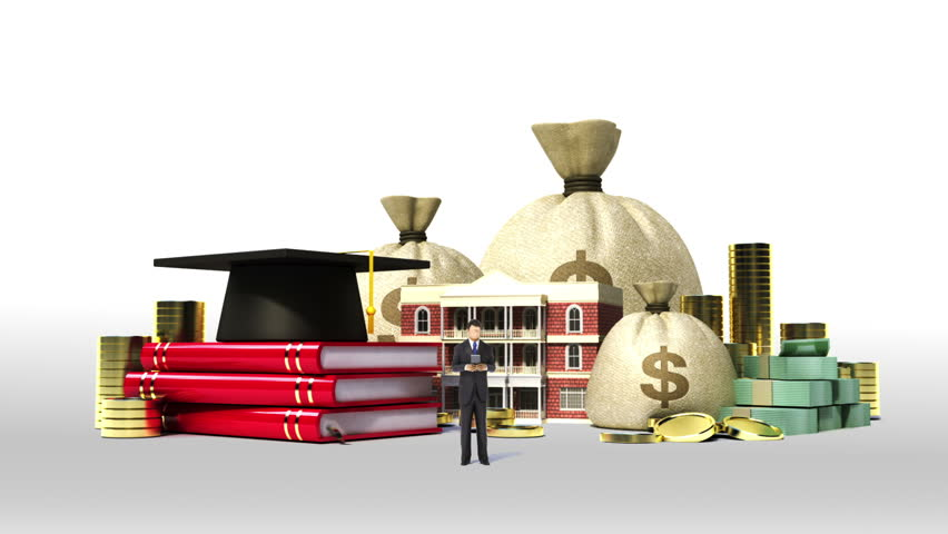 Falling Education expenses loan sign, school, collage, university campus building with money, bills.(included alpha)