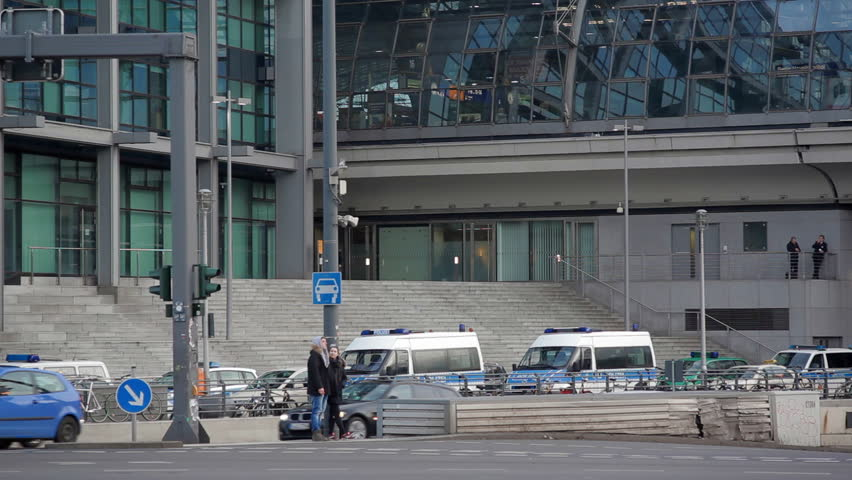 GERMANY - CIRCA FEBRUARY 2016 - Police car vans parked, Berlin Central train station, high security, Germany