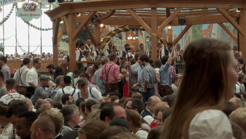 Oktoberfest celebration Stock Footage. Oktoberfest Germany Munich 10th September 2015. Interior and exterior footage of the German Oktoberfest.