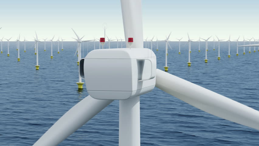 Camera rotates around a single wind turbine in the offshore wind farm. Seamless loop.