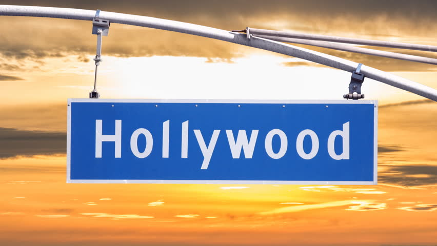 Hollywood Blvd street sign with time lapse sunset clouds. | Shutterstock HD Video #15107482