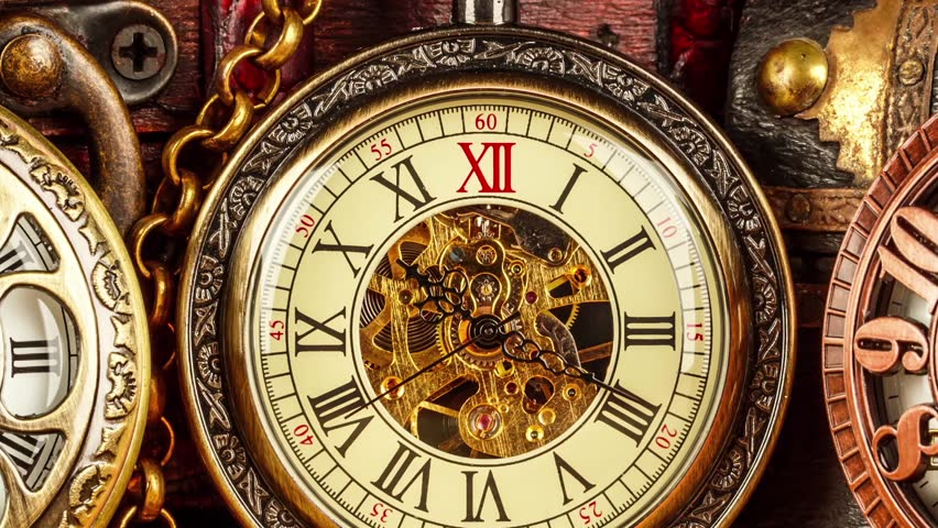 Antique Clock Dial Close-up. Vintage Pocket Watch. Stock Footage ...