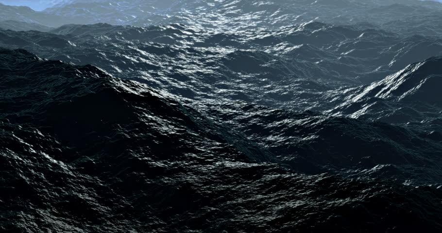 Loopable: Storm Sea / Rolling Waves / Ocean Storm. Big ocean storm waves move towards the viewer. (av23303c)