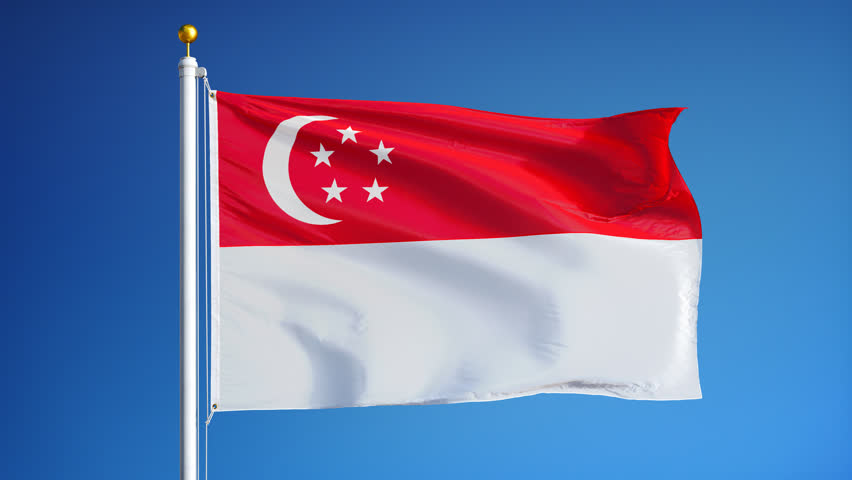 Singapore Flag Waves In Wind From Flagpole On Top Of
