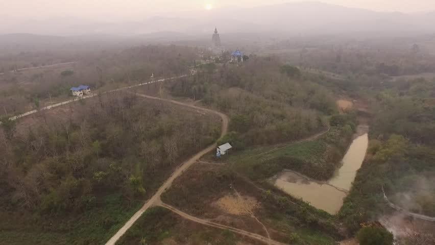 Aerial Shot from Drones, Bodh Gaya, Mahabodhi Temple Imitation from INDIA, Lampang District, THAILAND.