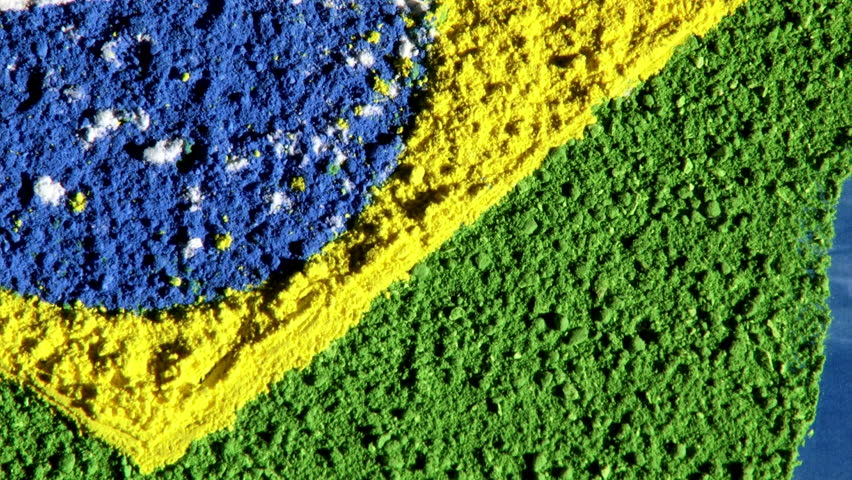Republic of Brazil, map and flag, zoom out, blue background.