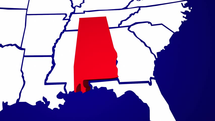 Alabama AL United States Of America 3d Animated State Map Stock