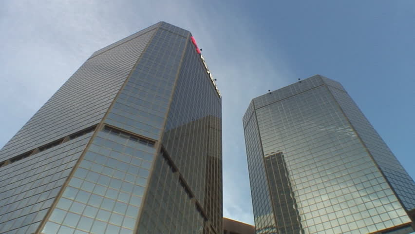 Multiple short tracking shots of modern office buildings; low angle, street to sky, Denver Colorado #151759