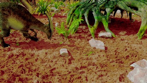 Dinosaur. Prehistoric Jungle, landscape, valley with Dinosaurs. Realistic animation and motion