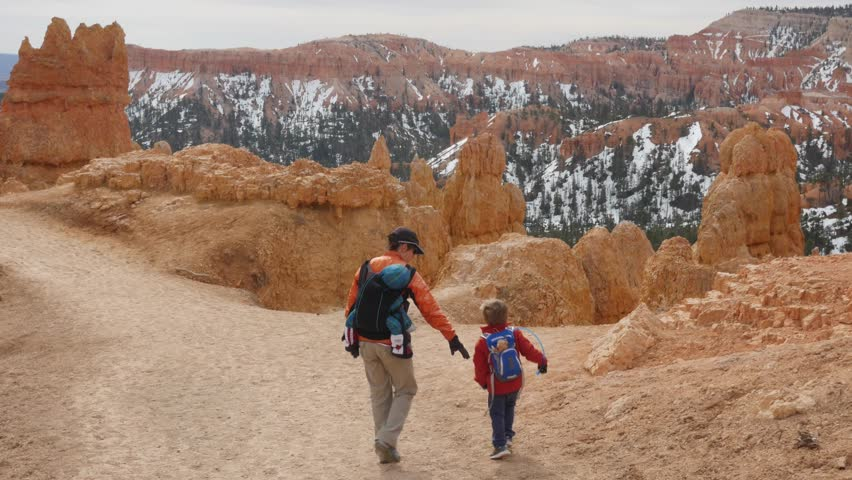 A family hiking in beautiful Bryce Canyon National Park in Southern Utah