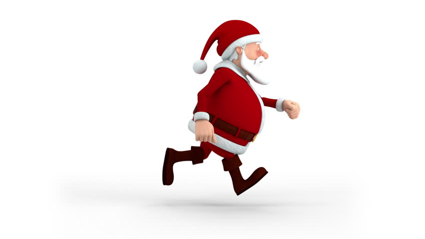 Cartoon Santa Claus running on spot - side view - high quality 3d animation