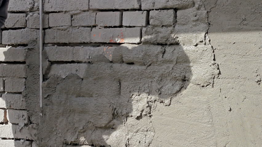 Applying Plaster To A Brick Wall Construction Worker Plastering Exterior Walls Hd1080i Stock