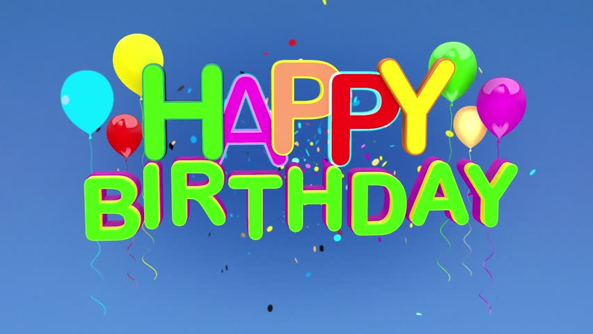 Happy Birthday Animation Tile On Blue Background Seamless Looping