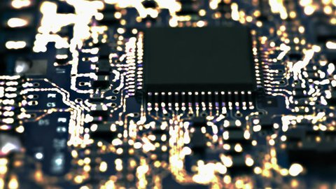Loopable: Circuit Board / Processor Chips / Data Streams. Circuit board with conceptual image of the yellow-orange electrical signals flowing in electrical conductors. (av27413c)