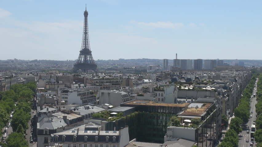 PARIS FRANCE - 1 August 2015 Aerials in Paris, Eiffel Tower architecture city from high level Parisian beauty | Shutterstock HD Video #15317992