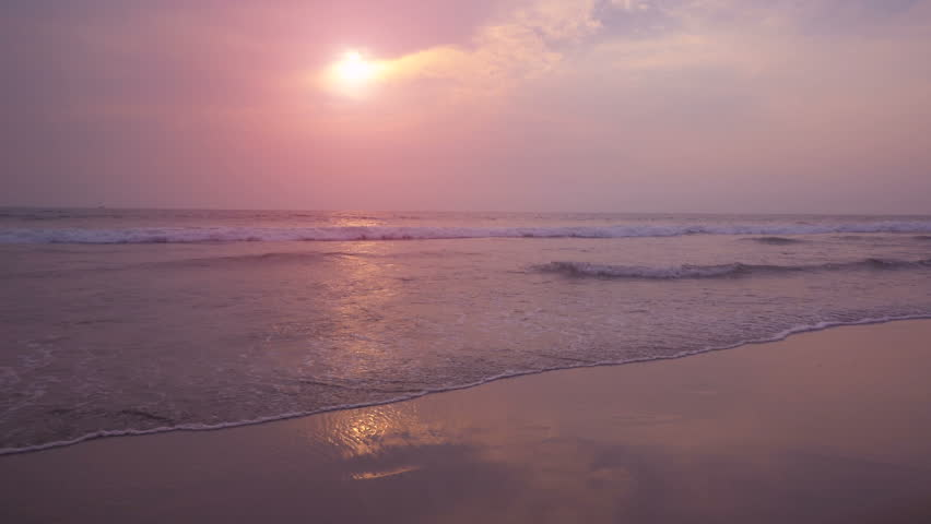 Beautiful sunset at Goa beach 4K