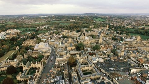 New Aerial View of Oxfordshire City Skyline with Historic Gothic Buildings 4K