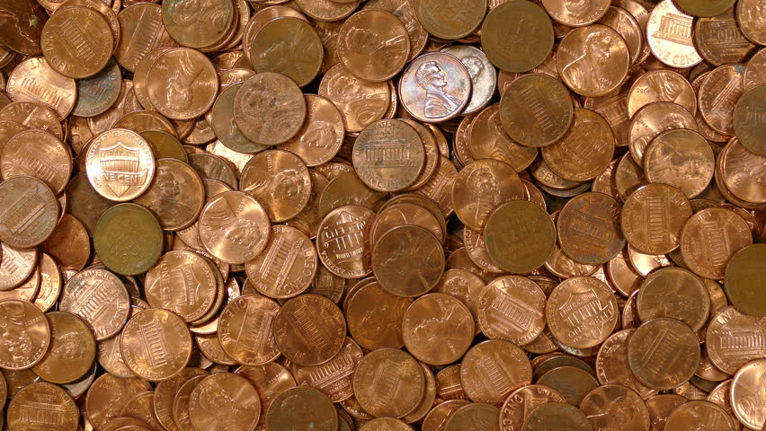 Copper Penny Pile Coin Background Stock Footage Video 100