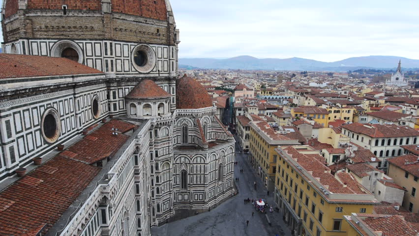 Florence Cathedral on cloudy day Panoramic ascending | Shutterstock HD Video #15381832