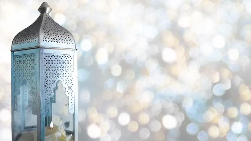 arabic ornamental lantern with burning stock footage video