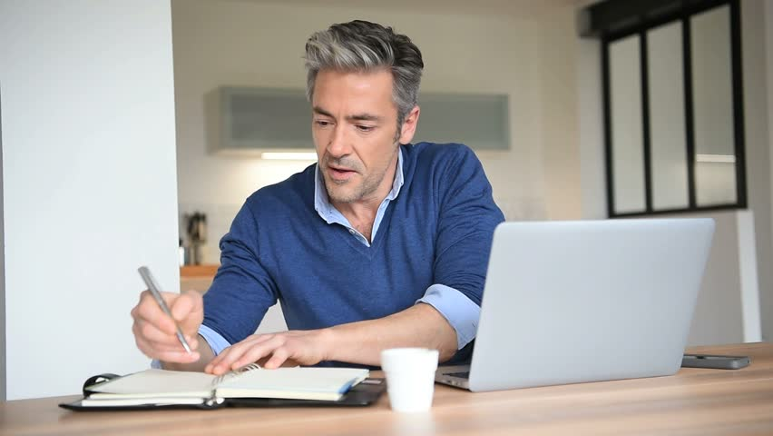 working for home office. Man Working From Home-office With Laptop Computer Stock Footage Video 15422092 | Shutterstock For Home Office
