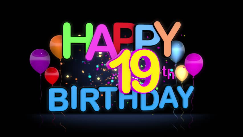 Happy 19th Birthday Title Seamless Looping Animation For Presentation With Dark Background