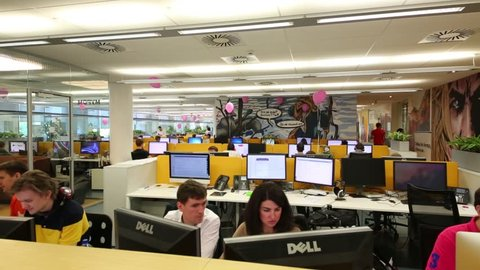 MOSCOW - JUN 03, 2015: Personnel in Tinkoff Bank office. Tinkoff Bank - only full online bank in Russia