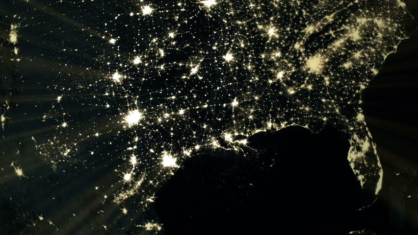 North America flyover at night. Wide angle view from space. Broadcast quality 4K animation. | Shutterstock HD Video #15447262