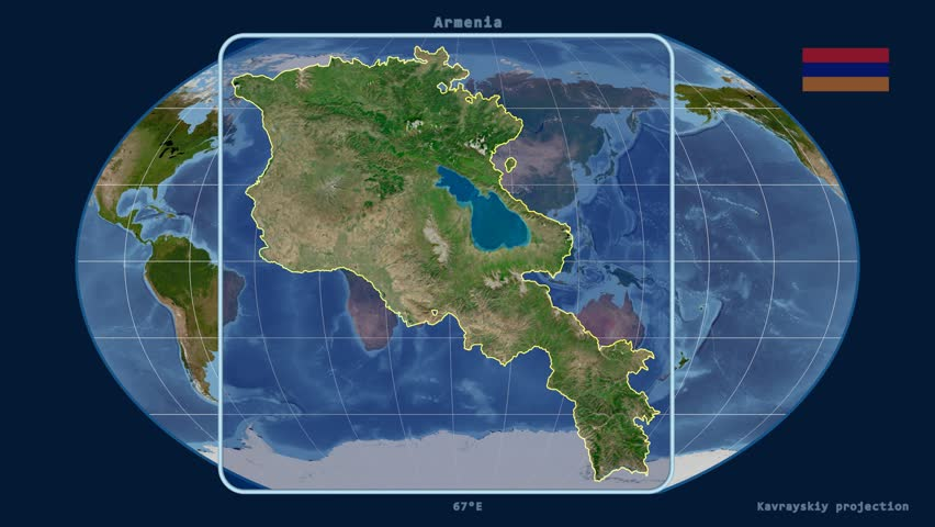 Zoomed-in view of a Armenia outline with perspective lines against a global satellite map in the Kavrayskiy VII projection | Shutterstock HD Video #15447742