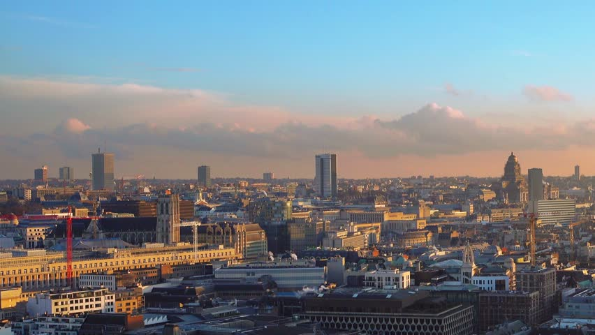 skyline of brussels city center panning at sunset