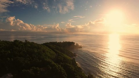 Aerial view of sunrise on Anse Royale in Mahe Island, Seychelles, 4K UHD ProRes