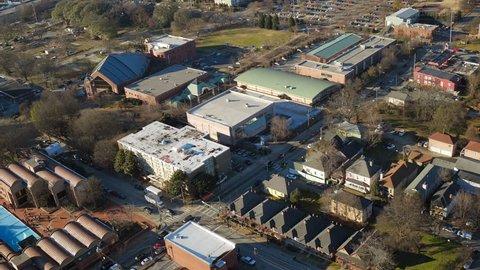 Atlanta Aerial v163 Flying low over MLK Center panning in Sweet Auburn neighborhood.