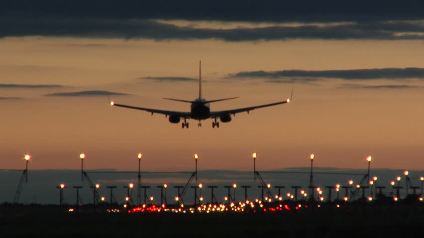 Jet Landing at Dublin Airport at Dusk | Shutterstock HD Video #15481222