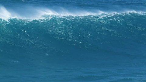 Giant Blue Ocean Wave in Hawaii, Breaking in Slow Motion