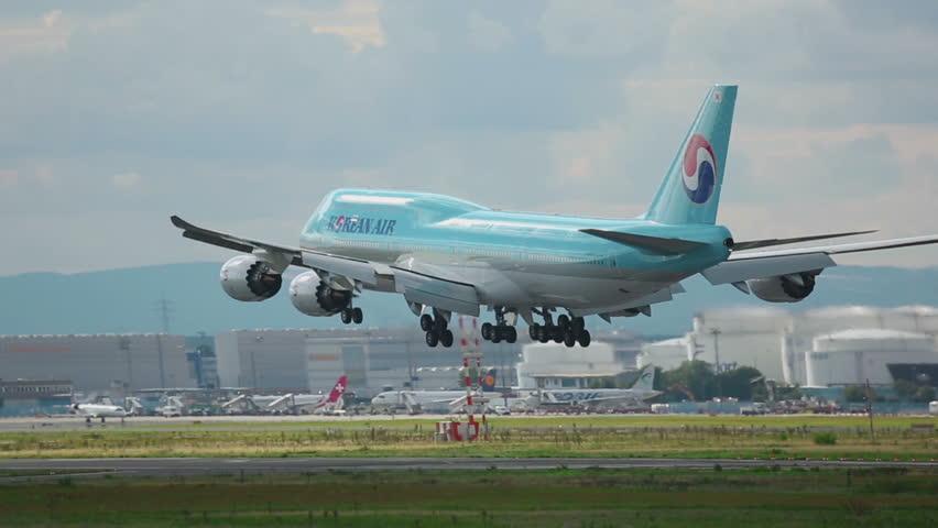 FRANKFURT AM MAIN, GERMANY - SEPTEMBER 4, 2015: Korean Air Boeing 747 landing. Unofficial spotting on Sep. 4, 2015