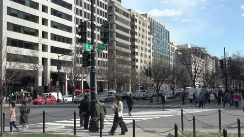 WASHINGTON, DC - MARCH 2016: K Street. in downtown Washington, DC, legendary home to lobbyists and politics is now now mostly symbolic. See K St. sign.