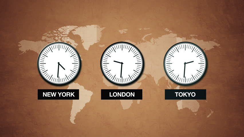 New York London And Tokyo Time World Time Zones Three Clocks