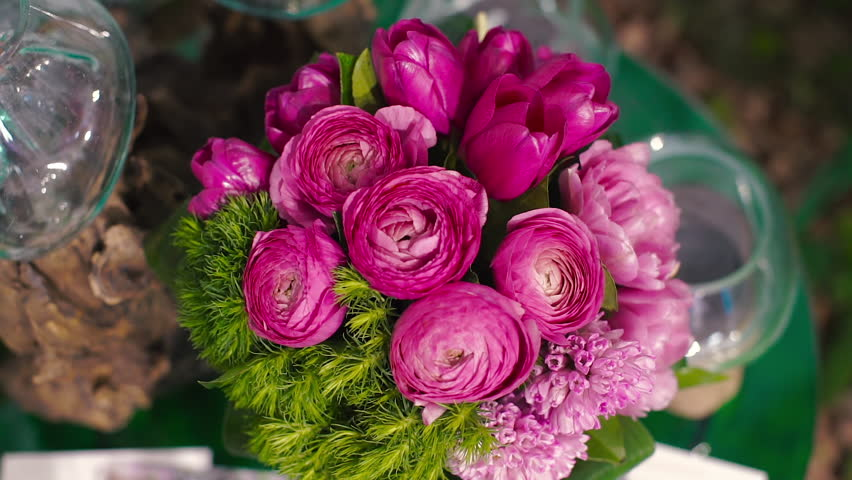 Love Pink Orchid Flower Romantic Wallpaper 24 3687 Hd: Ranunculus Bouquet Of Tulips And A Lot Of Flowers, Pink