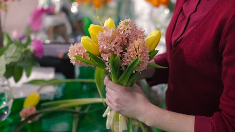 Woman is Bouquet of Tulips and Lilies of the Valley, Lots of Flowers, Yellow Flower, Pink Flower, Florist, Flower Arrangement Drawing Bouquet of Fresh Flowers Beautiful Flower, Yellow, Orange Flower
