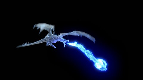 Animated realistic Ice Dragon flying and breathing blue flame. High Quality Seamless loop with alpha channel.